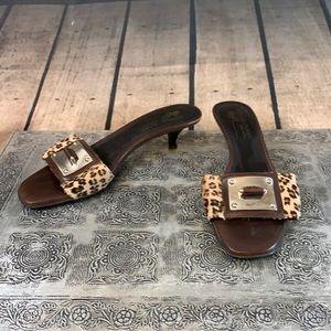 Donald J. Pliner Leather Leopard Print Pony Hair Kitten Heels Sandals Size 8